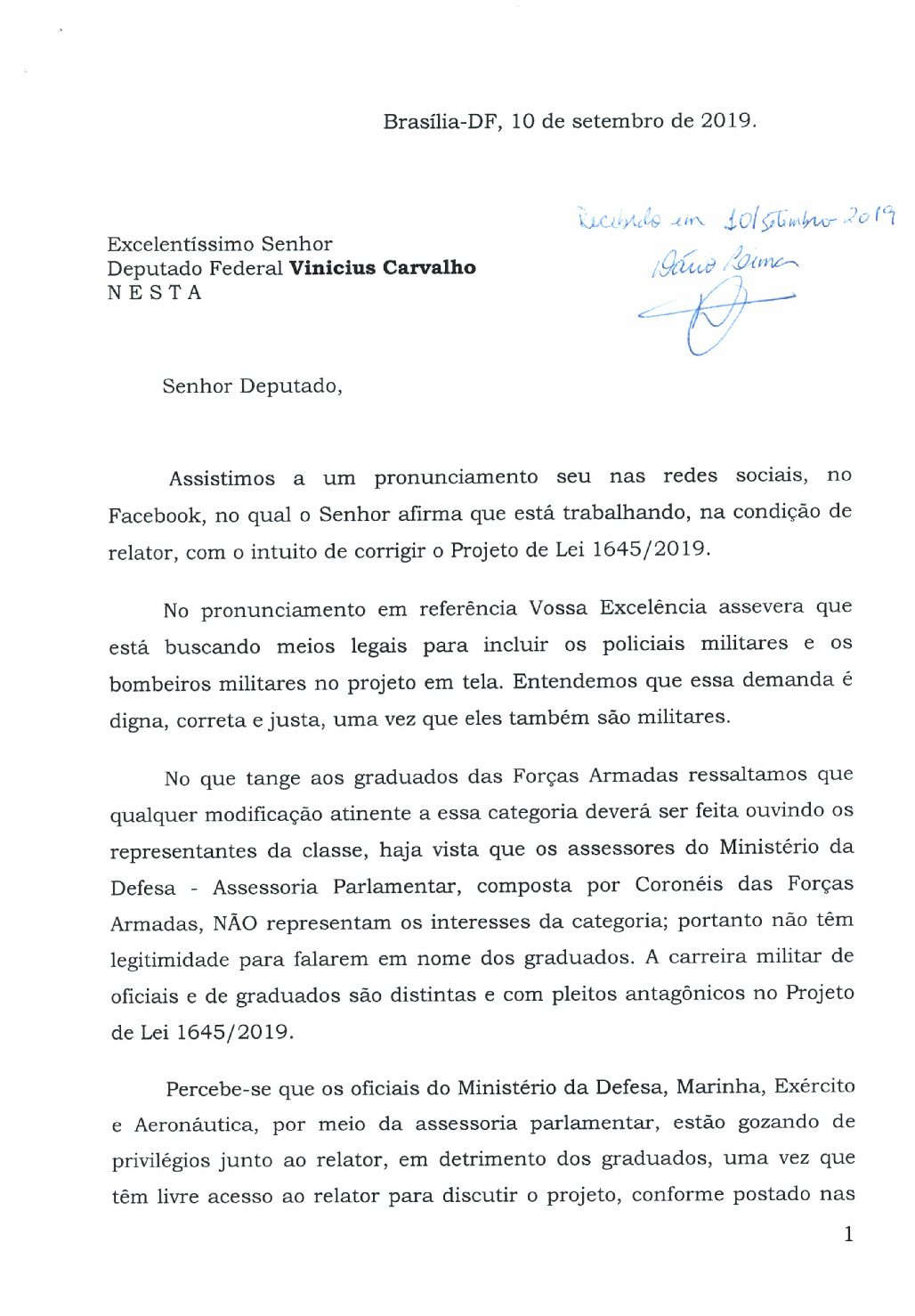 Representante de associações militares é recebido e entrega carta ao relator do PL 1645/2019