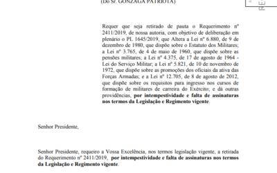 Deputado retira requerimento e PL 1645/19 não deve ir ao plenário da Câmara.