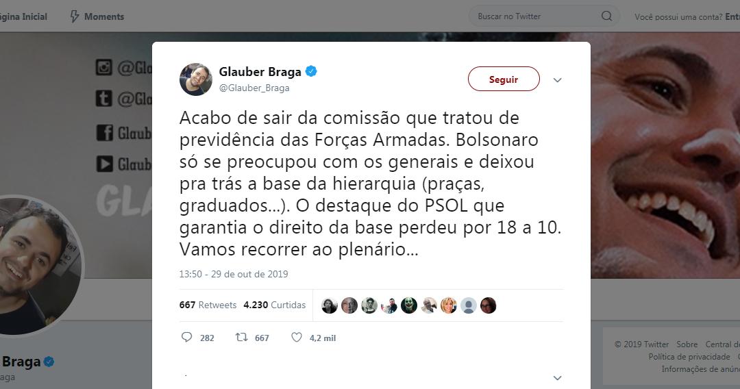 """""""Recorre não, deputado""""! Seguidores protestam no Twitter após Glauber Braga anunciar intenção de levar o PL 1645 ao plenário"""