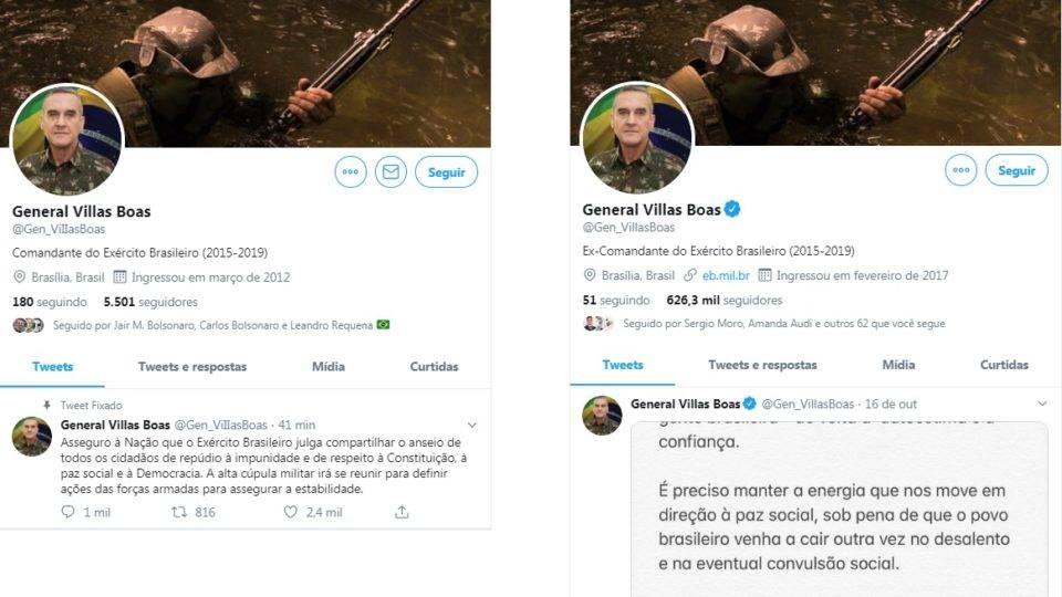 """Perfil """"fake"""" do general Villas Bôas espalha temor de ação do Exército após decisão do STF"""
