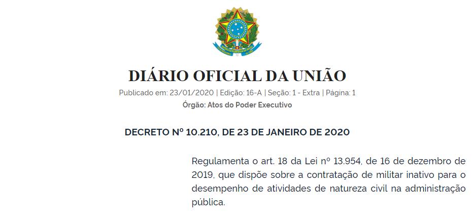 INSS: leia o Decreto que regulamenta a contratação de militar inativo para o desempenho de atividades civis