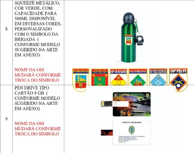 Brigada do Exército vai gastar R$ 227 mil em brindes