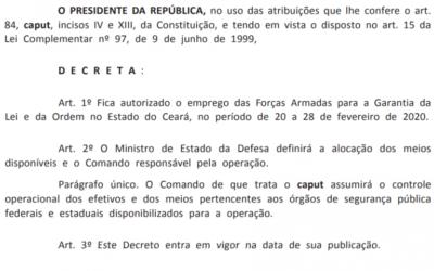 Bolsonaro autoriza Forças Armadas no Ceará