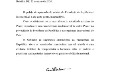 Apreender celular de Bolsonaro pode ter 'consequências imprevisíveis', diz general Heleno em nota dSIo G