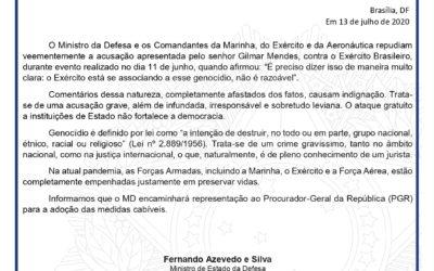 """Em nota, Defesa ataca Gilmar Mendes: """"acusação grave, irresponsável e leviana!"""""""