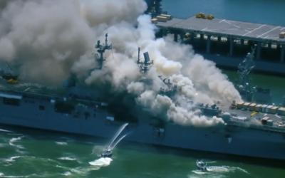 Navio da Marinha dos EUA pega fogo em San Diego; 21 pessoas ficam feridas