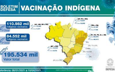 Brasil vacina quase 111 mil indígenas com auxílio das Forças Armadas